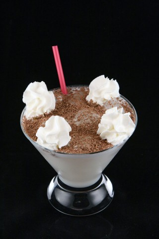 German Chocolate Cake Cocktail with beautiful cream garnish