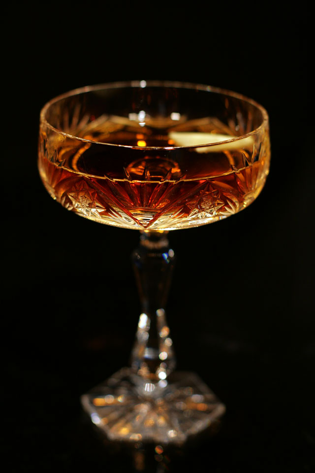 Martinez Cocktail in an antique crystal glass