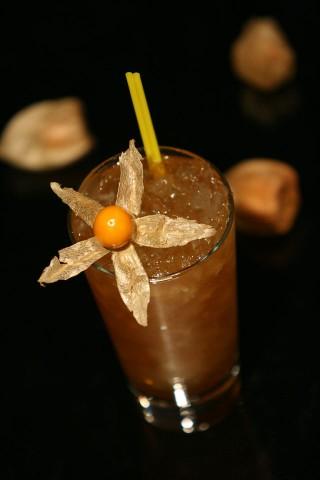 The English Cobbler Cocktail garnished with cape gooseberry (Коктейль Английский Кобблер украшенный физалисом)