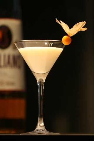 The Golden Cadillaс Cocktail garnished with ground-cherry (Коктейль Золотой Кадиллак украшенный физалисом)