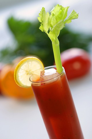 The Bloody Mary Cocktail garnished with selery stalk (     )