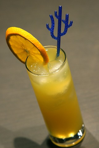 The Freddy Fudpucker Cocktail garnished with an orange wheel (  ,   )