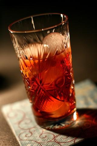 The Agavoni Cocktail in crystal Delmonico glass (Коктейль Агавони в хрустальном бокале)