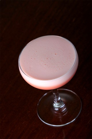 foamy Royal Clover Club Cocktail in a beauty coupe glass