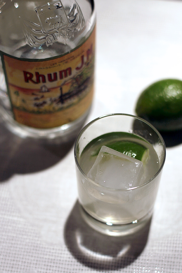 Ti' Punch and bottle of Rhum and lime
