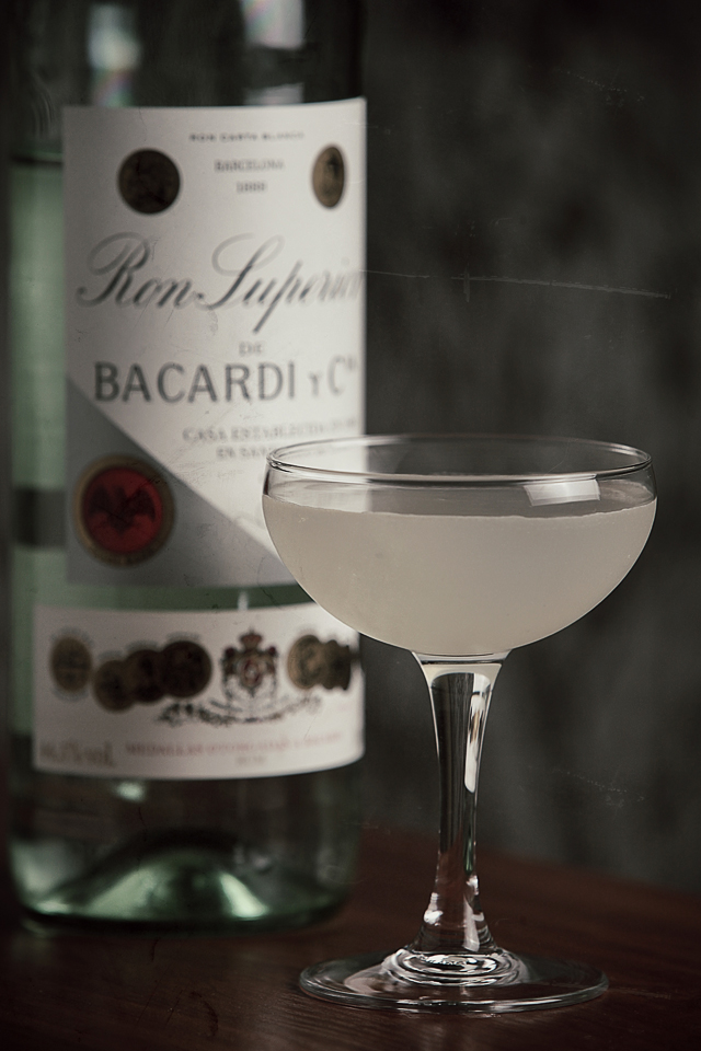 Daiquiri Cocktail with a vintage Bacardi bottle