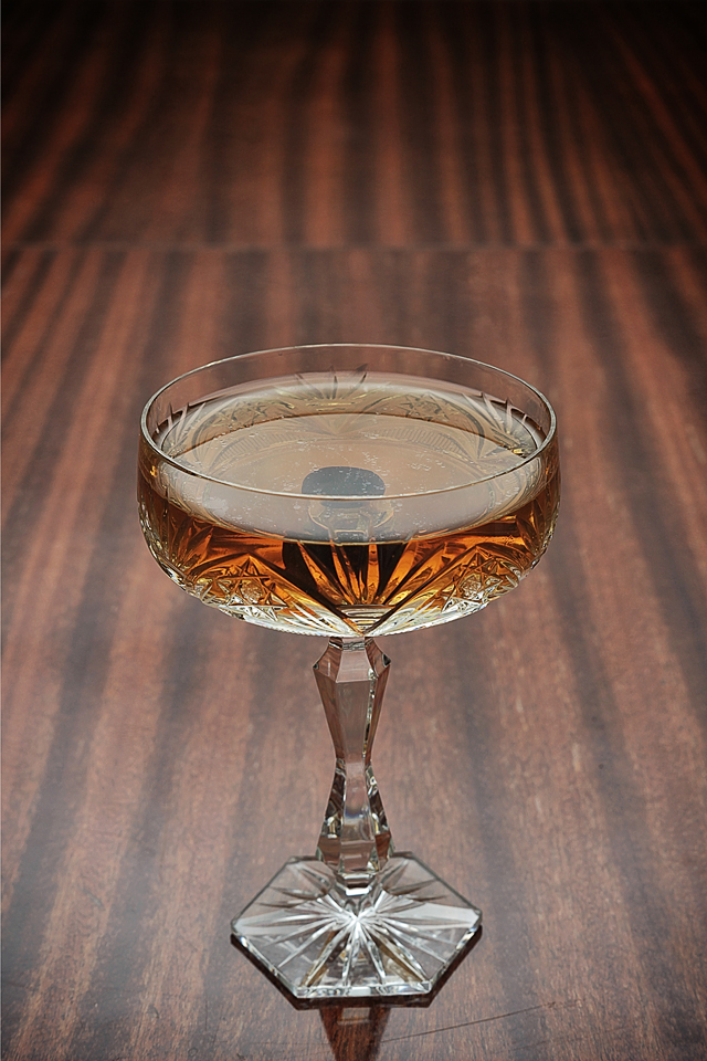 The Bijou Cocktail in a vintage crystalline glass