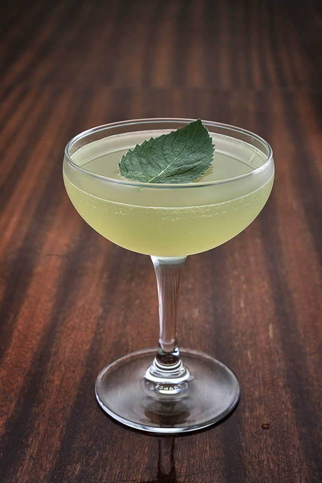 The Southside Cocktail with a mint leaf
