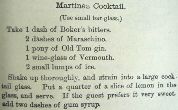 Jerry Thomas recipe of Martinez Cocktail